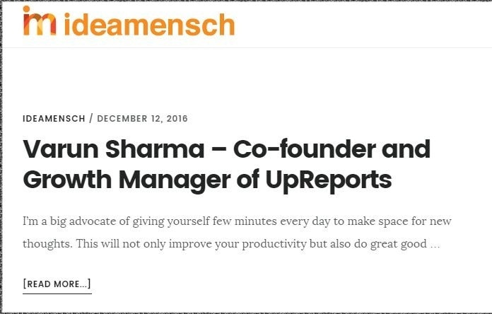 Team UpReports, IdeaMensch, and Lessons on Entrepreneurship